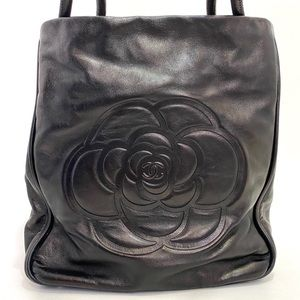 Authentic Chanel Vintage Lambskin Camellia Tote